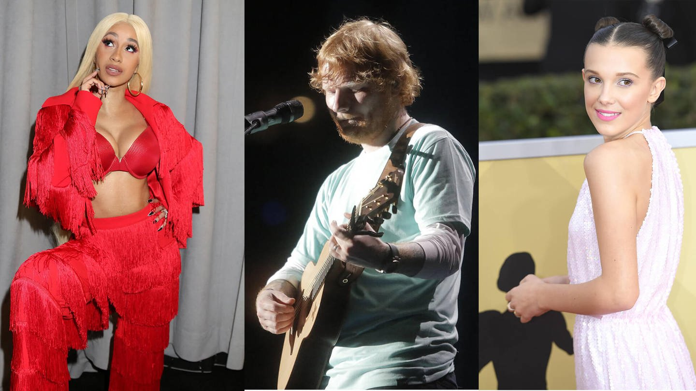 Cardi B/Ed Sheeran/Millie Bobby Brown (Foto: Imago, ZUMA Press/ MediaPunch)