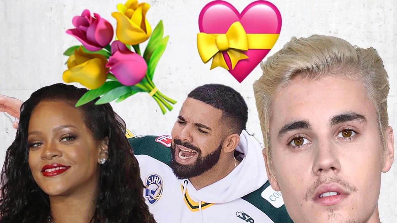 Rihanna, Drake und Justin Bieber mit Herz-Emojis. (Foto: picture-alliance / dpa)