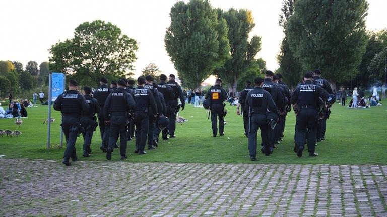 Polizeibeamte gehen über die Neckarwiese in Heidelberg