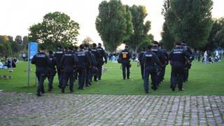 Polizeibeamte gehen über die Neckarwiese in Heidelberg (Foto: dpa Bildfunk, picture alliance/dpa/Rene Priebe | Rene Priebe)